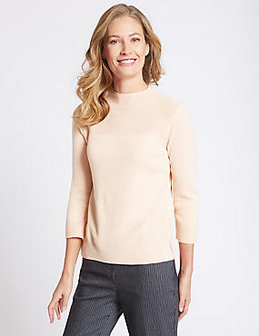 Textured Ripple Yoke 3/4 Sleeve Jumper, SOFT PEACH, catlanding