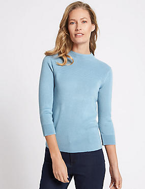 Textured Ripple Yoke 3/4 Sleeve Jumper, SOFT BLUE, catlanding