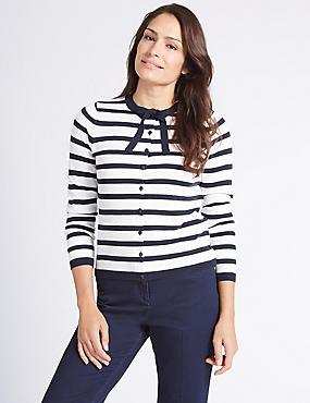 Striped Bow Detail Cardigan  , NAVY, catlanding