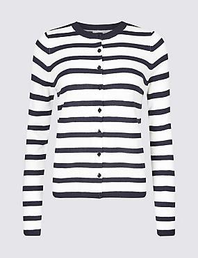 Striped Button Through Cardigan , NAVY MIX, catlanding