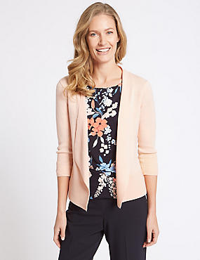Ripple Open Front Cardigan, SOFT PEACH, catlanding