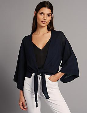 Vorne gebundene Kimono-Strickjacke, TINTENBLAU, catlanding