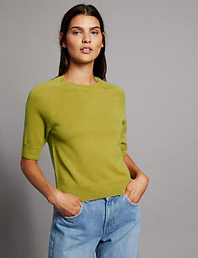 Jersey 100% cashmere de cuello redondo, OCRE, catlanding