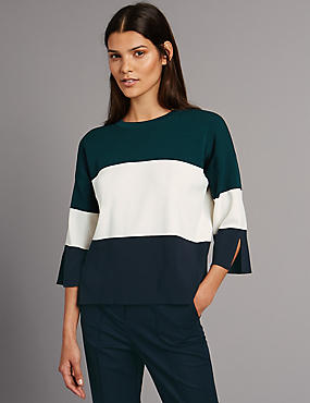 Cotton Blend Block Stripe 3/4 Sleeve Jumper, NAVY MIX, catlanding