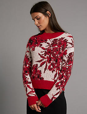 Jacquard Print Round Neck Jumper, RED MIX, catlanding