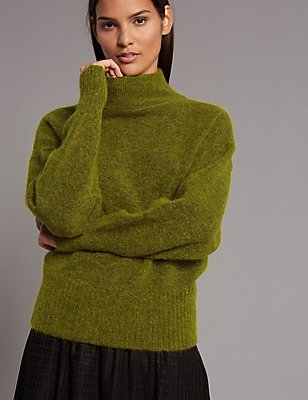 Mohair Blend Turtle Neck Jumper, WINTER LIME, catlanding