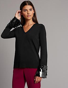 V-Neck Embellished Cuff Jumper, BLACK, catlanding