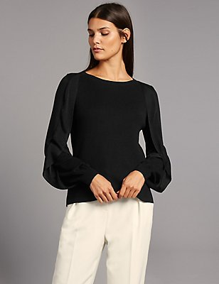 Round Neck Frill Sleeve Jumper, BLACK, catlanding