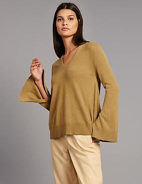 Pullover aus reinem Kaschmir mit V-Ausschnitt und asymmetrischem Saum, HONIG, catlanding