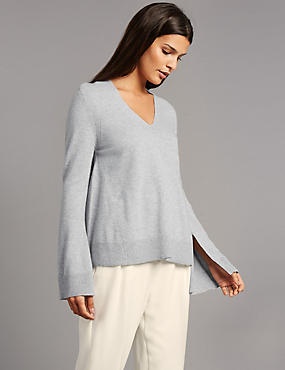 Pullover aus reinem Kaschmir mit V-Ausschnitt und asymmetrischem Saum, GRAU MELIERT, catlanding