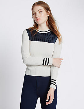 Colour Block Knit Jumper, IVORY MIX, catlanding