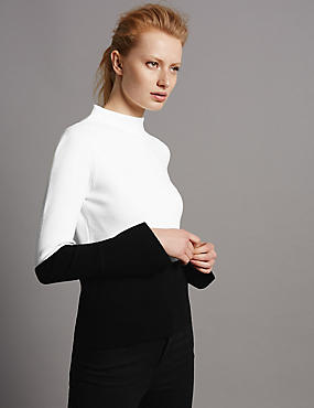 Flare Cuff Turtle Neck Long Sleeve Jumper, BLACK MIX, catlanding