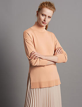 Polo Neck Jumper, LIGHT COPPER, catlanding