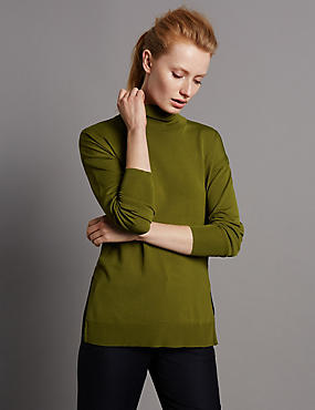 Polo Neck Jumper, BRIGHT SAGE, catlanding