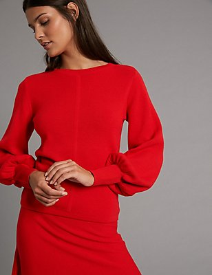 Wool Blend Round Neck Bell Sleeve Jumper, RED, catlanding