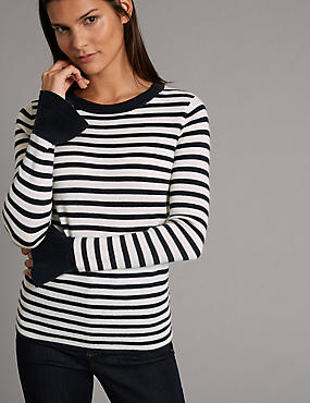 Pure Wool Striped Flared Cuff Jumper, NAVY MIX, catlanding