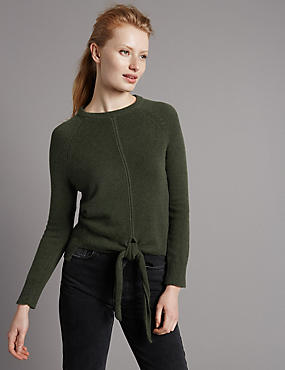 Pure Cashmere Ribbed Tie Front Jumper, OLIVE, catlanding