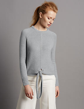 Pure Cashmere Ribbed Tie Front Jumper, GREY MARL, catlanding