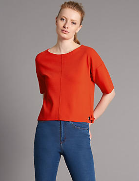 Clean Knit Eyelet Detail Jumper, RED, catlanding