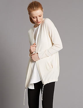 Wool Blend Drawstring Cardigan, CALICO, catlanding