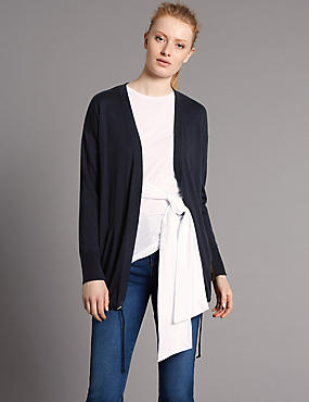 Wool Blend Drawstring Cardigan, NAVY, catlanding