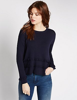 Textured Crop Frilled Round Neck Jumper, NAVY, catlanding
