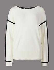 Split Sleeve Slash Neck Jumper