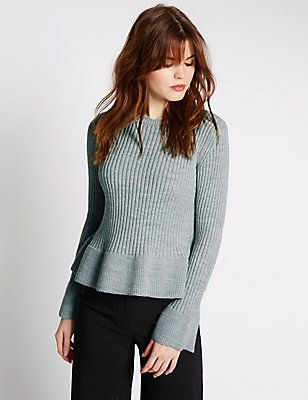 Peplum Hem Fluted Sleeve Jumper, GREY, catlanding