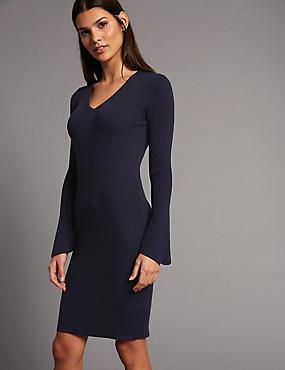 Wool Blend V-Neck Flute Sleeve Jumper Dress, NAVY, catlanding