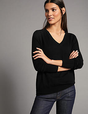 Pure Cashmere V-Neck Jumper , BLACK, catlanding