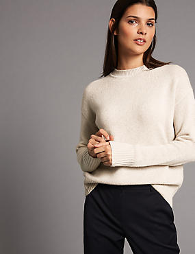 Pure Cashmere Round Neck Jumper, OATMEAL, catlanding