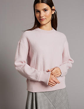 Boiled Wool Blend Textured Round Neck Jumper, BLUSH, catlanding