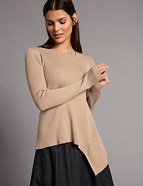 Wool Blend Asymmetrical Hem Jumper, MEDIUM BEIGE, catlanding