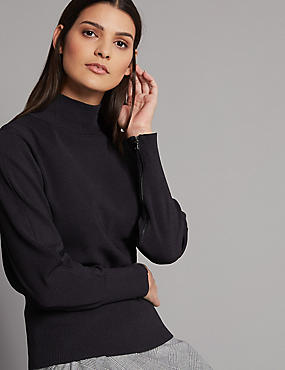 Zipped Detail Funnel Neck Long Sleeve Jumper, NAVY, catlanding