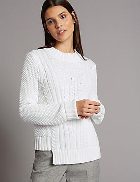 Cotton Blend Step Hem Cable Knit Jumper, SOFT WHITE, catlanding