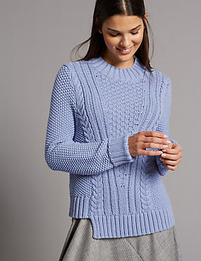 Cotton Blend Step Hem Cable Knit Jumper, WEDGEWOOD, catlanding