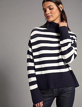 Pure Cashmere Striped Turtle Neck Jumper , NAVY MIX, catlanding