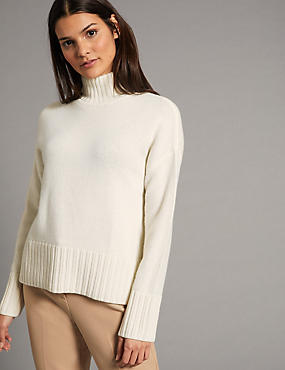 Pure Cashmere Funnel Neck Jumper, CREAM, catlanding