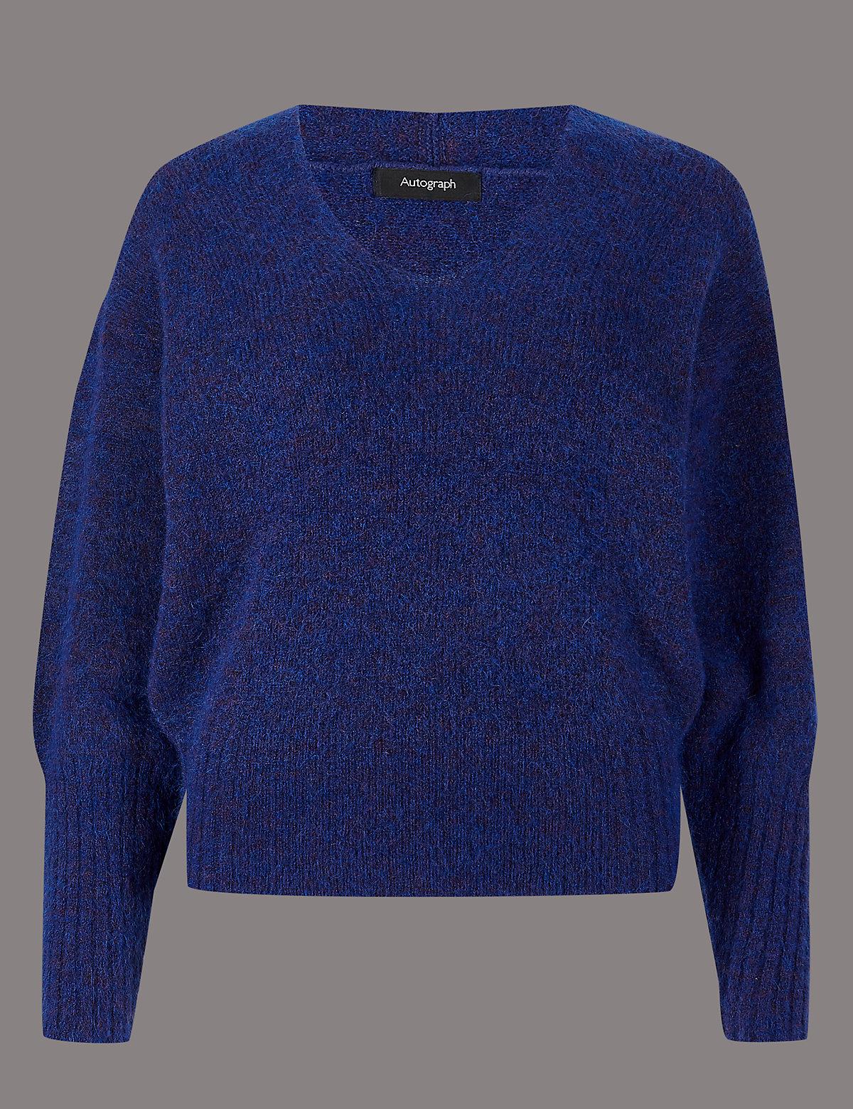 Джемпер текстурированный с V-образным вырезом