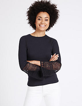 Cotton Blend Lace Flute Sleeve Jumper, NAVY, catlanding