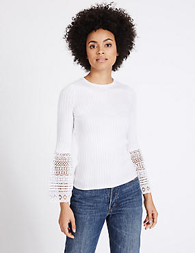 Cotton Blend Lace Flute Sleeve Jumper, IVORY, catlanding