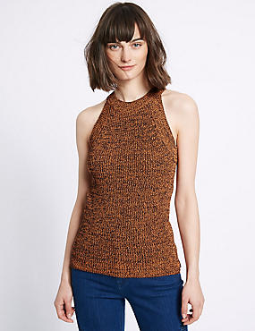 Textured Round Neck Sleeveless Jumper, ORANGE MIX, catlanding