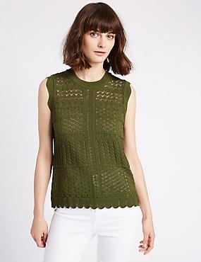 Crochet Lace Round Neck Cap Sleeve Jumper, KHAKI, catlanding
