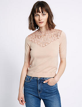 Cotton Blend Lace Crochet Round Neck Jumper, PINK, catlanding