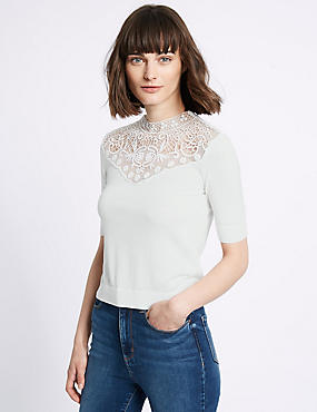 Cotton Blend Lace Crochet Round Neck Jumper, IVORY, catlanding