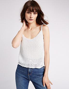 Cotton Rich Textured Crochet Strap Vest Top, SOFT WHITE, catlanding