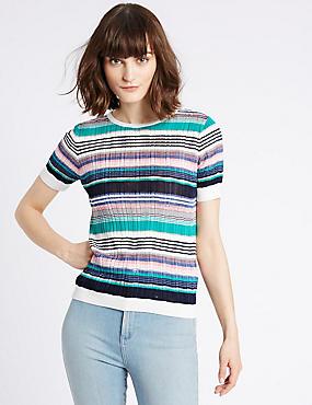 Gestreifter Rundhals-Pullover mit kurzen Ärmeln, BLAU MELANGE, catlanding