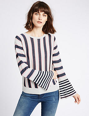Striped Flare Cuff Round Neck Jumper, WHITE MIX, catlanding