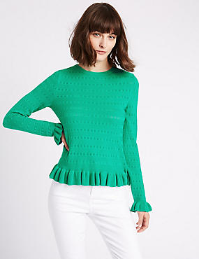 Cotton Blend Ruffle Hem Round Neck Jumper, GREEN, catlanding