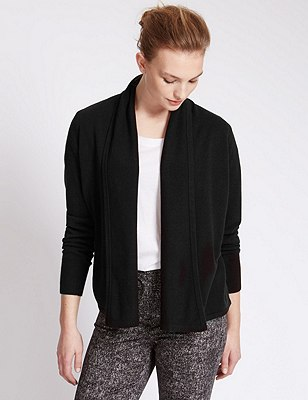Open Front Boxy Drape Soft Cardigan, BLACK, catlanding